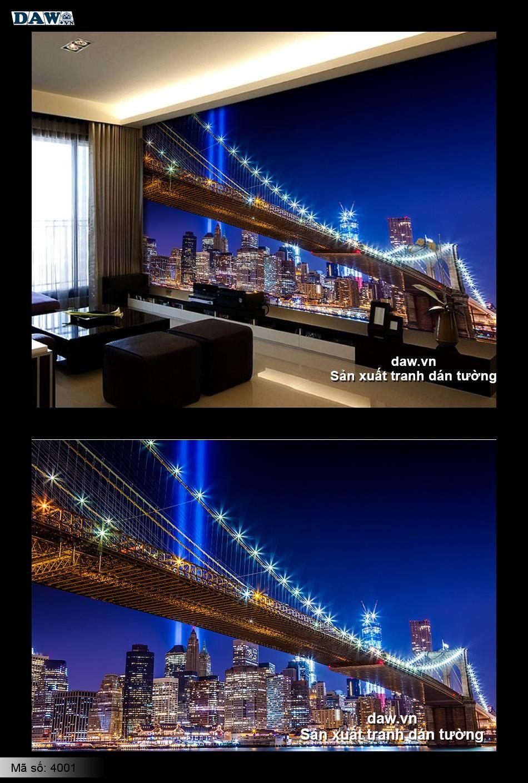 Tranh dán tường thành phố, thành phố đêm, newyork 4001