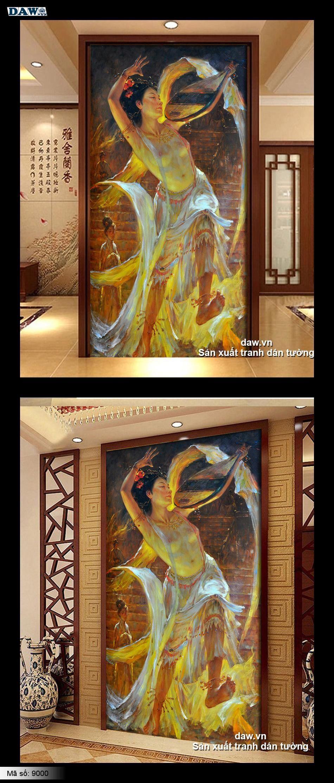 Tranh vẽ cô gái, tranh dán tường cô gái, tranh nude 9000