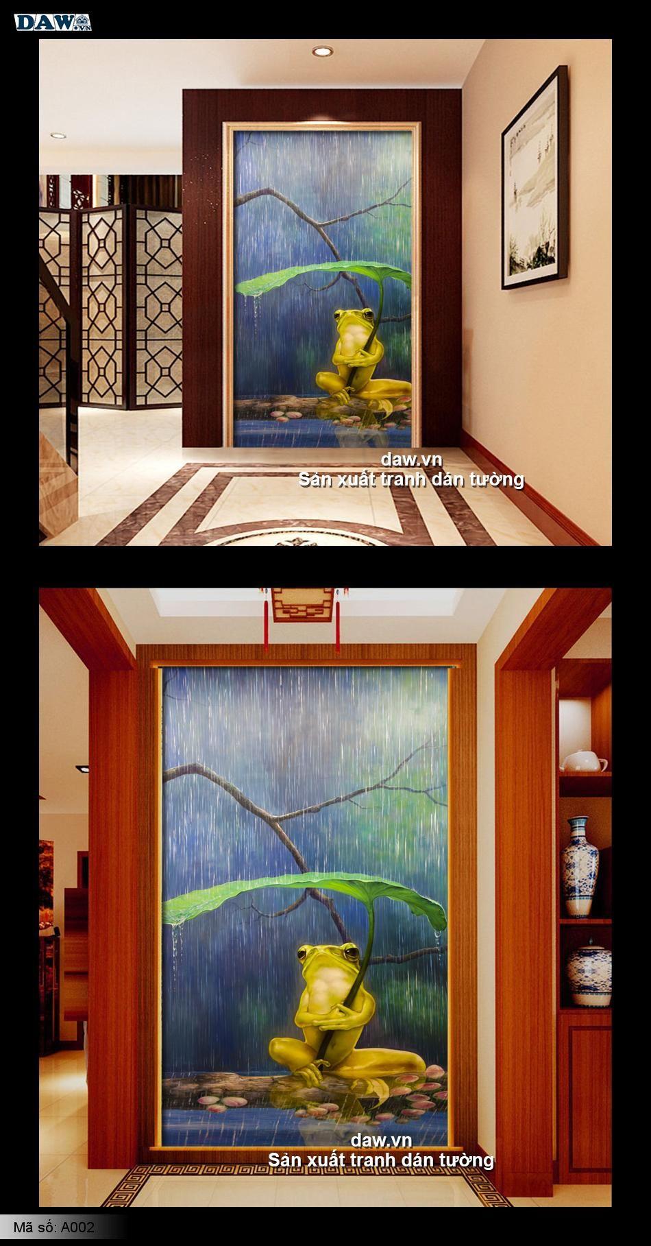 Tranh dán tường 3D, chú ếch cầm lá sen ngồi bên hồ nướ dưới mua, tranh dán tường lãng mạn A002