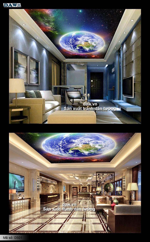 Tranh dán trần nhà, trần nhà đẹp, ranh dán tường bầu trời đêm, tranh dán tường sao đêm, tranh dán tường thiên hà, trái đất, vũ trụ D501