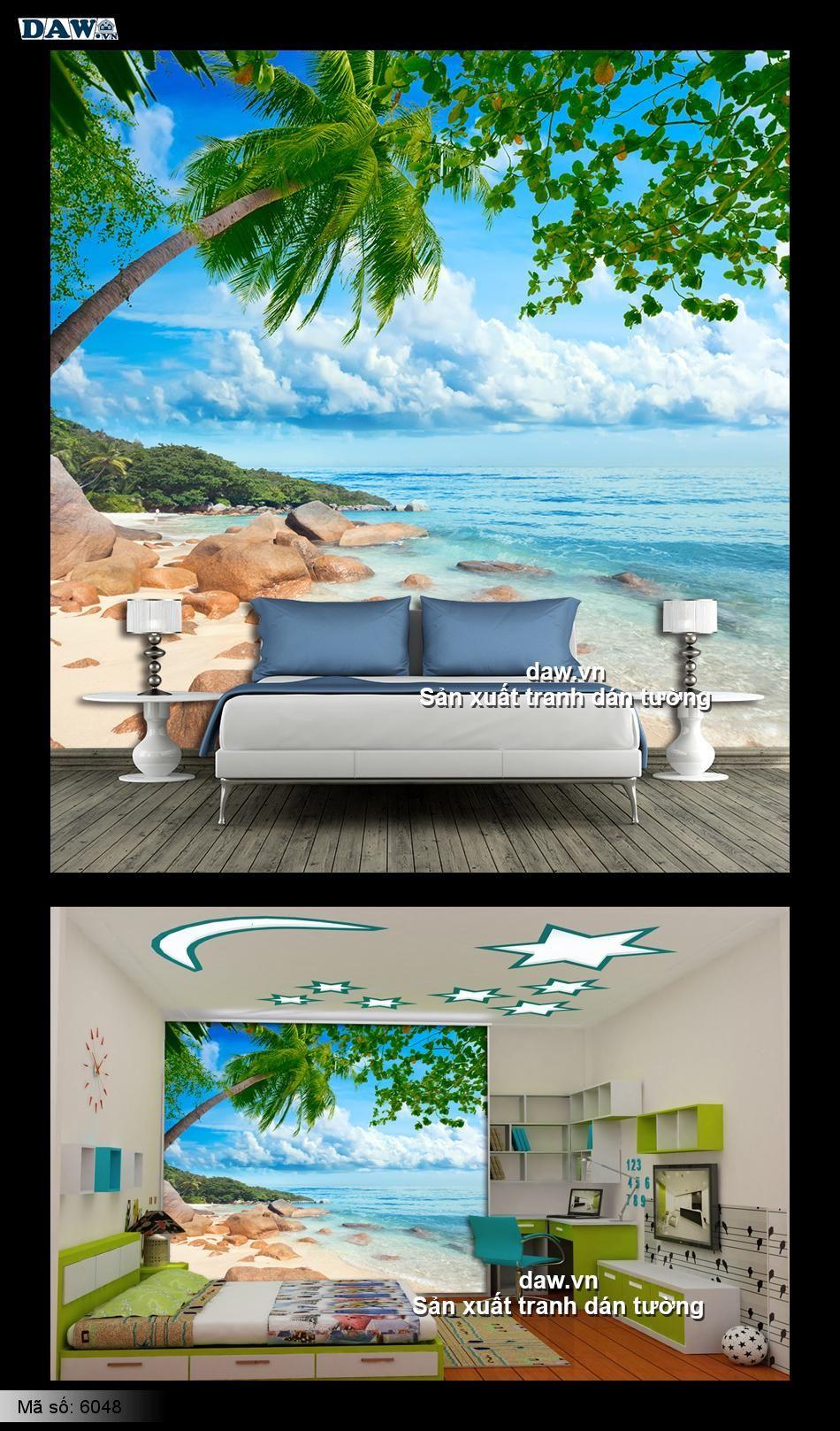 Tranh dán tường bãi biển, bãi biển đẹp, biển lãng mạn, biển đá dừa 6048