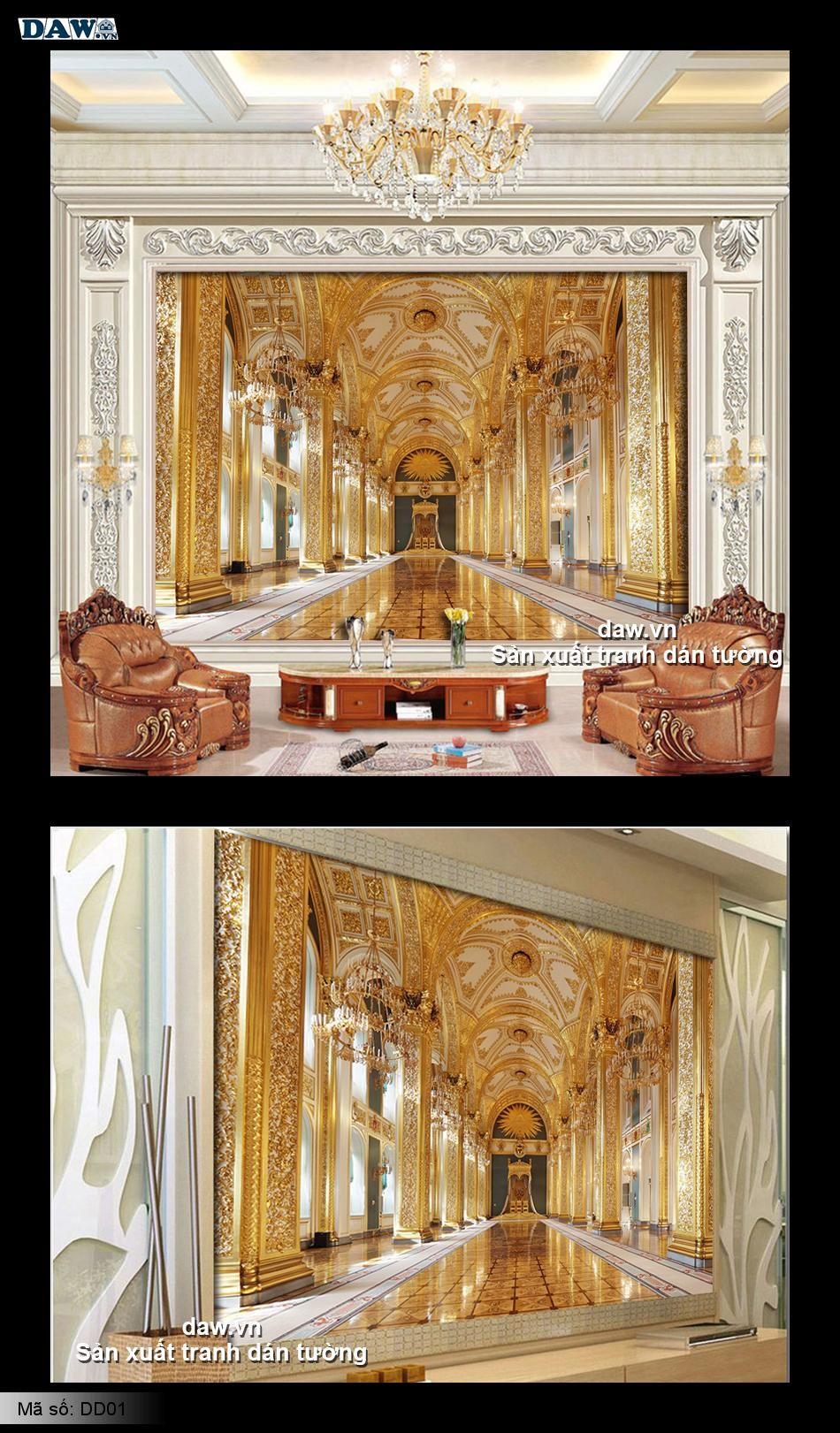 Nội thất đẹp, tranh dán tường nội thất, nội thất hoàng gia, nội thất cung điện, tranh nội thất sang trọng DD01