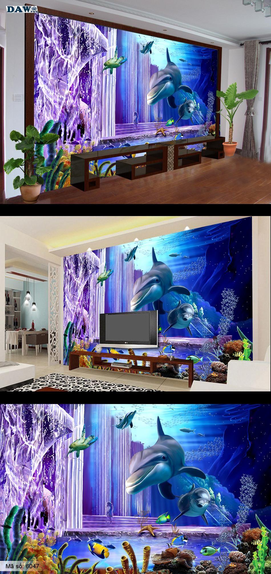 Tranh biển, tranh dán tường đấy biển, biển đẹp, tranh dan tuong ca heo, tranh 3D, tranh dan tuong 3D 6047