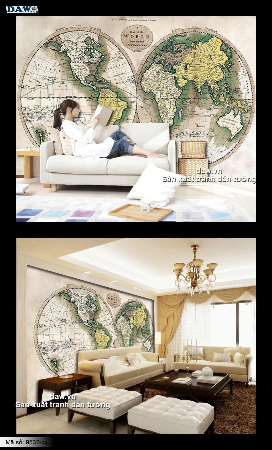 Bản đồ cổ, tranh dán tường hình bản đồ cũ, bản đồ thế giới, hình bản đồ ngày xưa, daw.vn, daw 9532-pc