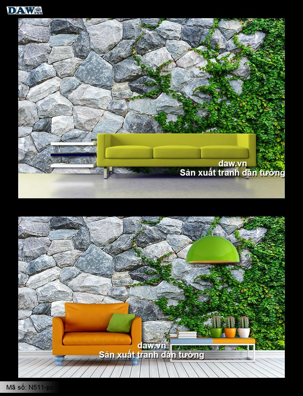 Dây leo tường, tranh dán tường dây leo, cỏ leo, dây leo tường gạch, tường đá, daw N511-pc