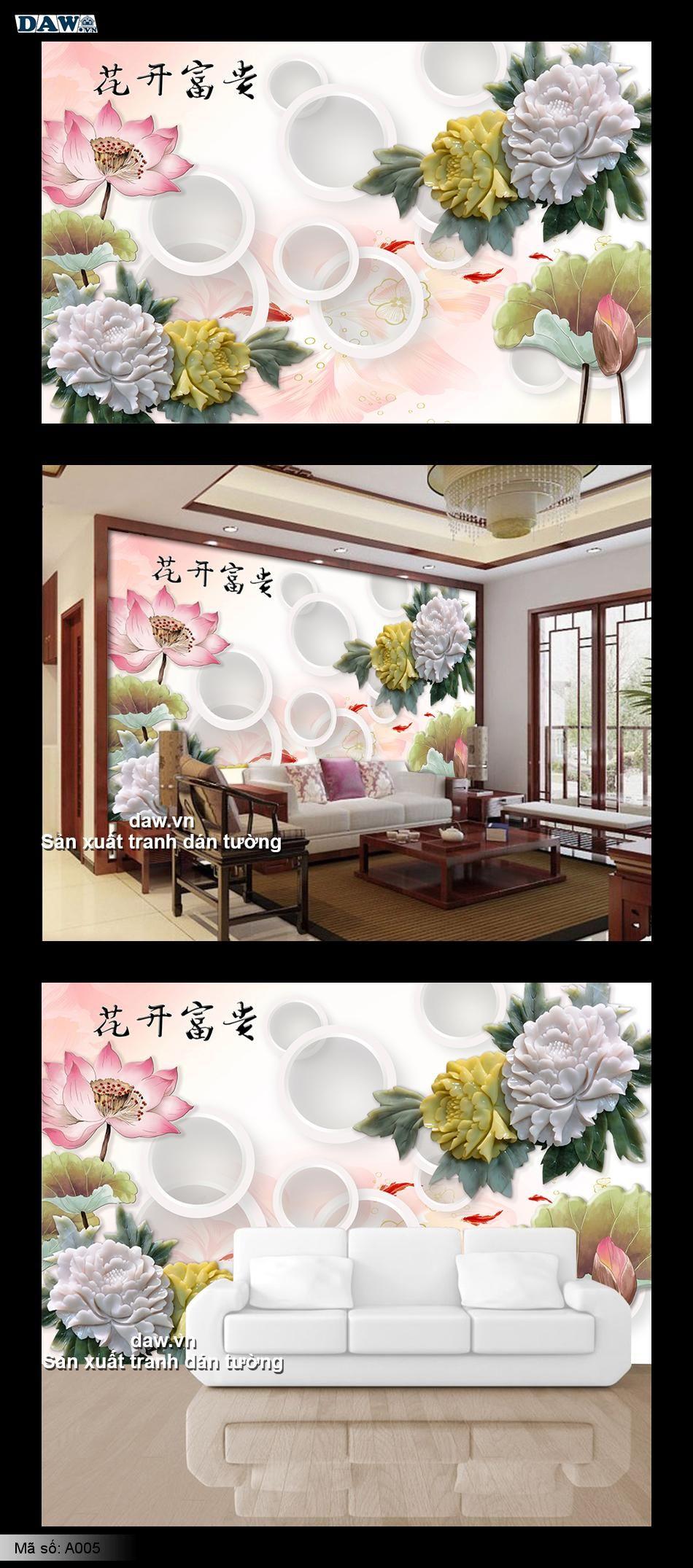 Tranh dán tường 3D, tranh dán tường hoa sen, tranh dán tường hoa mẫu đơn, Tranh dán tường Hàn Quốc, phòng ngủ, phòng khách , DAW, A005