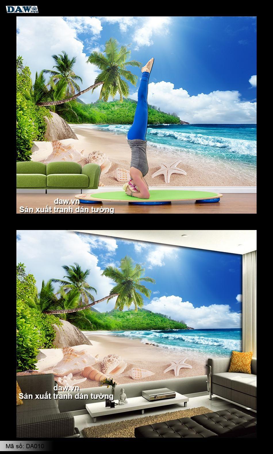 Tranh dán tường bãi biển, tranh biển, biển đẹp, biển dừa, nghêu sò ốc hến, tranh dán tường biển, daw DA010