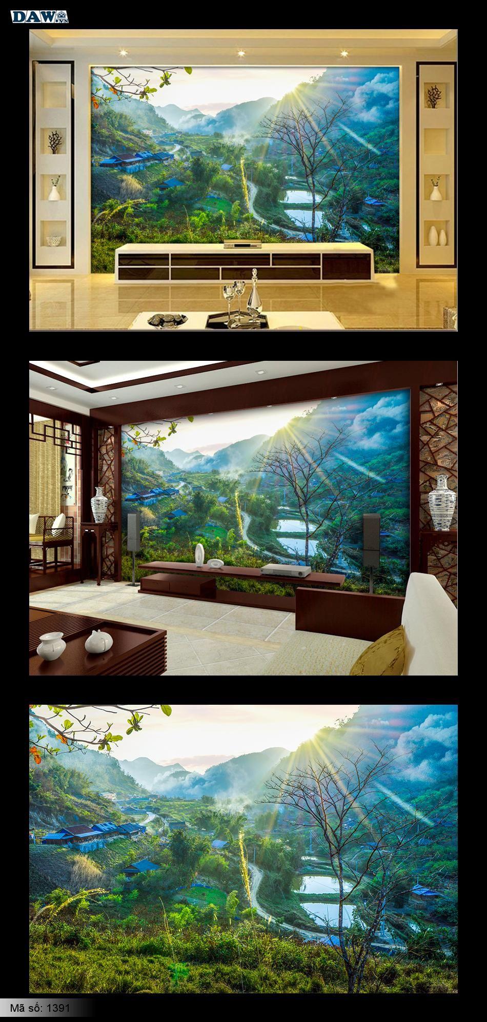 Tranh dán tường phong cảnh, phong cảnh đẹp, bình minh, hoàng hôn, Mường Lống, Kỳ Sơn 1391
