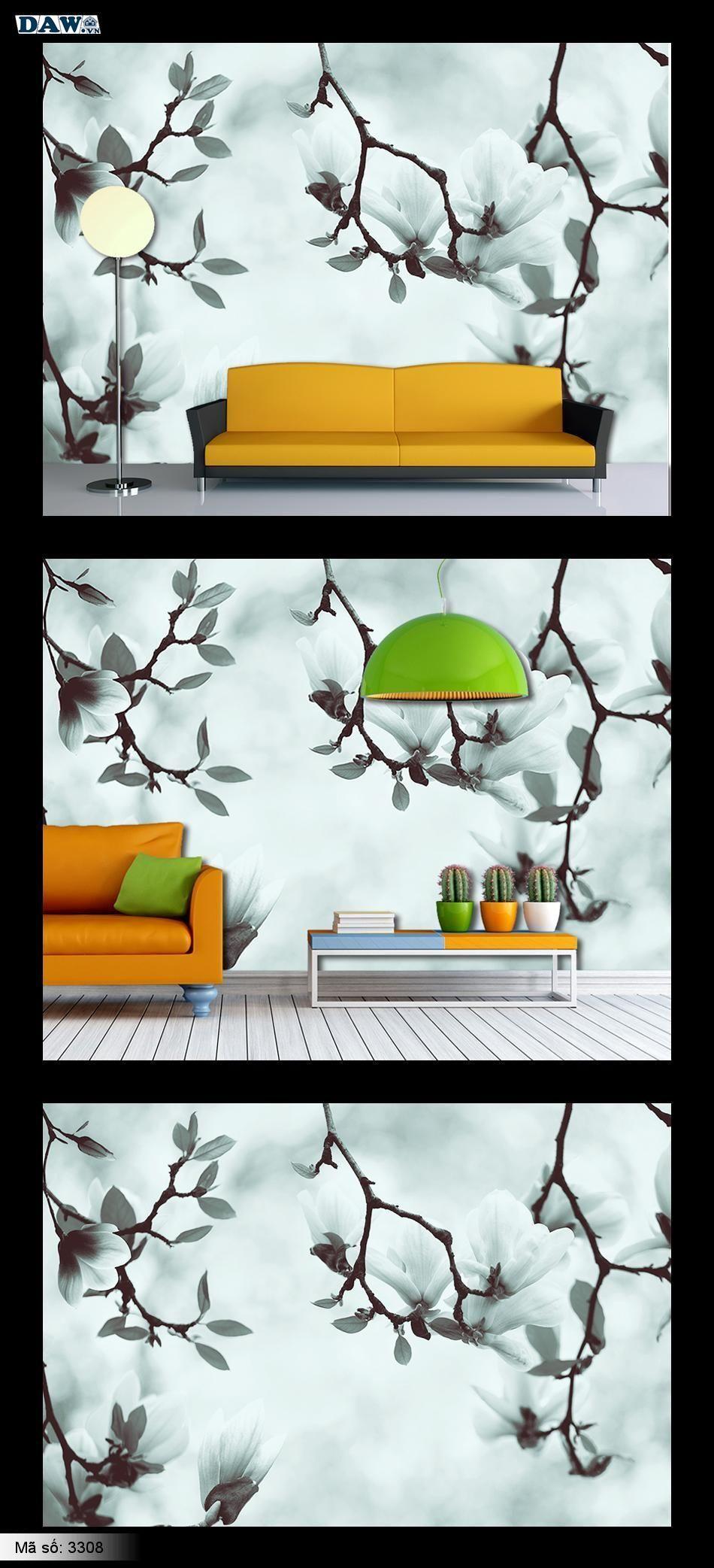 Tranh dán tường hoa, hoa lá, cành hoa, tranh hoa, tranh dán tường hoa mộc lan, mộc lan đẹp 3308