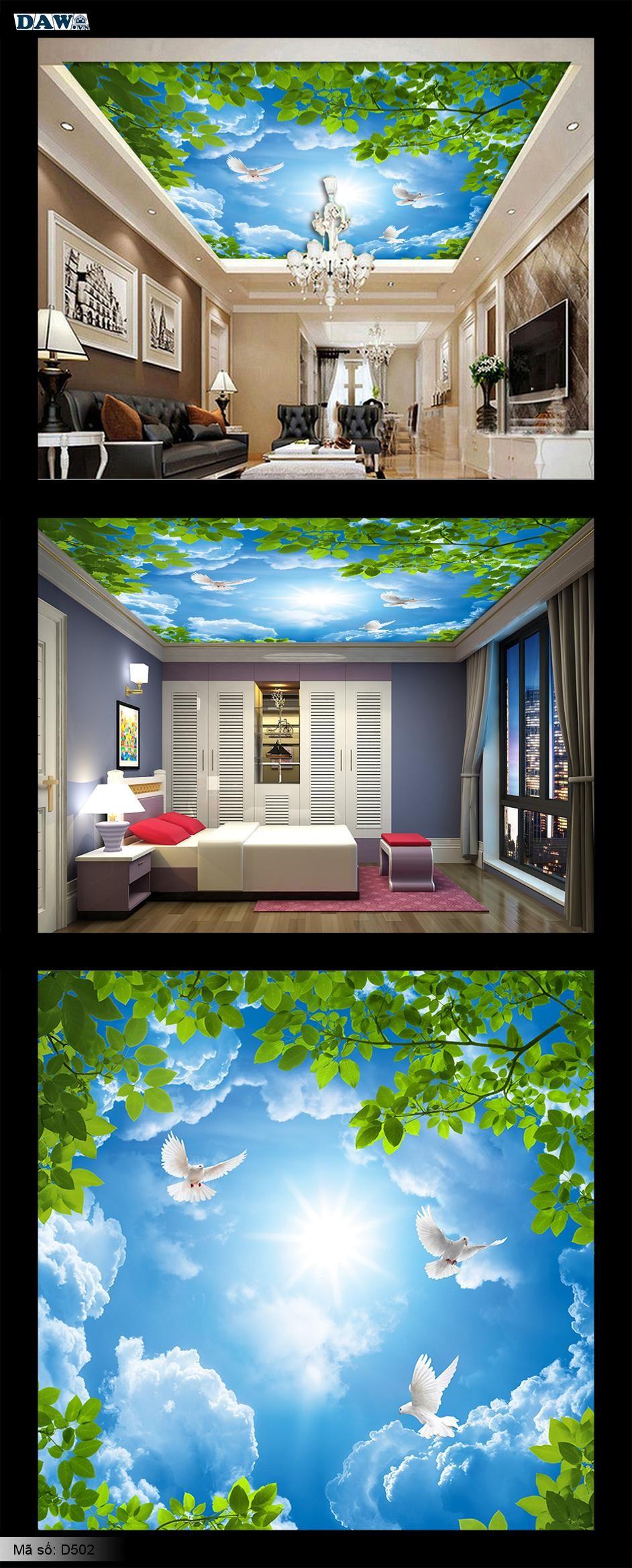 Tranh dán tường trần nhà, Tranh bầu trời, Tranh dán trần nhà, trần nhà hình bầu trời xanh, trần đẹp D502