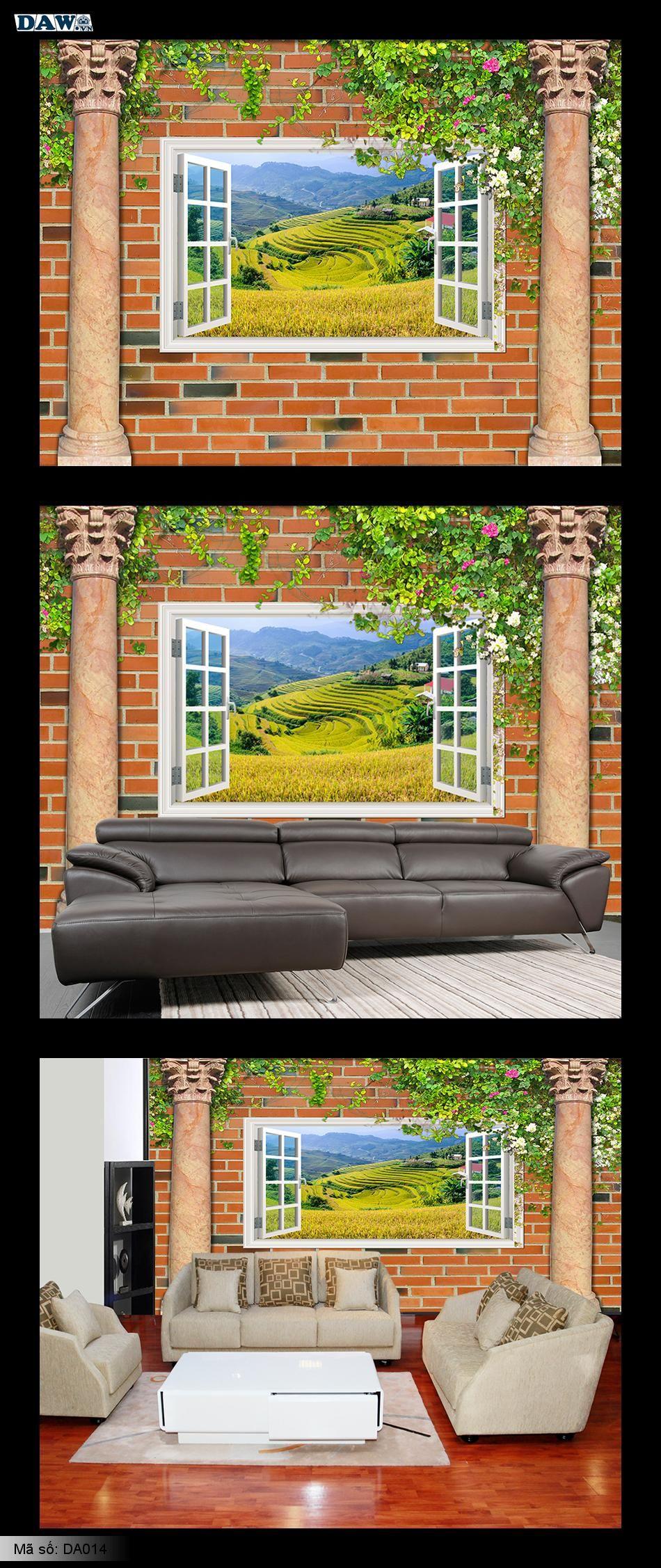 Tranh dán tường của sổ đẹp, bức tường gạch đẹp, tranh dán tường gạch, dây leo, bông giấy, hoa giấy, tranh ruộng bậc thang, tây bắc, Mù Cang Chải, Yên Bái  DA014