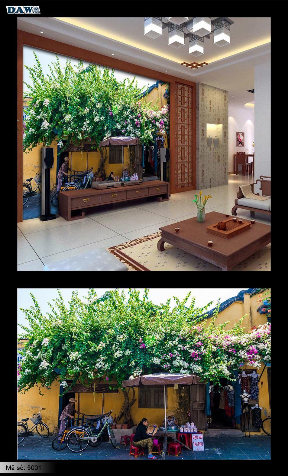 Tranh dán tường góc phố, góc phố đẹp, phố Hội An, hoa giấy, bông giấy, tranh dán tường hoa bông giấy, tranh phố Hội An 5001