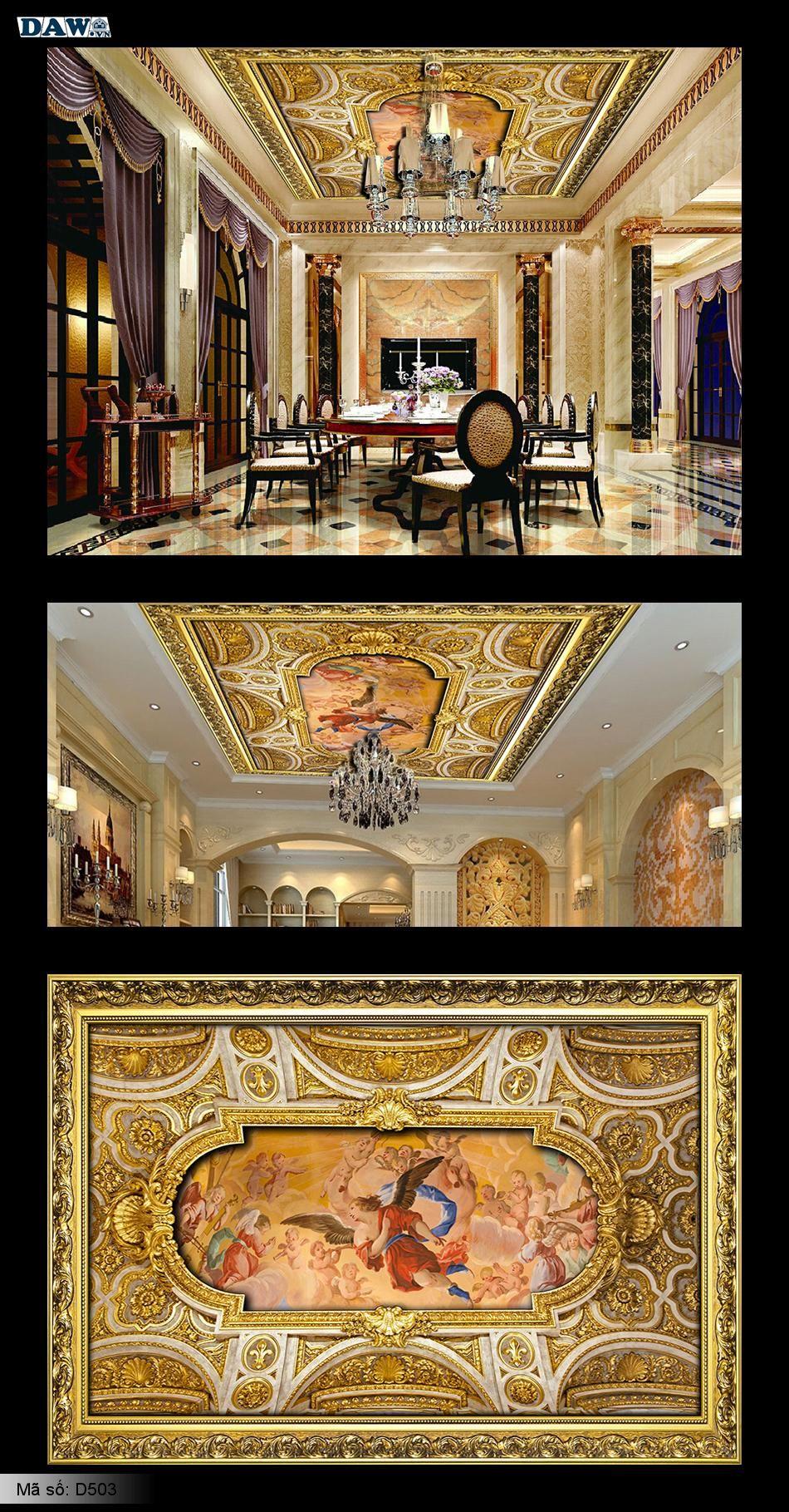 Trần đẹp, tranh dán trần cổ điển, tranh dán tường trần 3D, trần nhà 3D, trần nhà đẹp D503