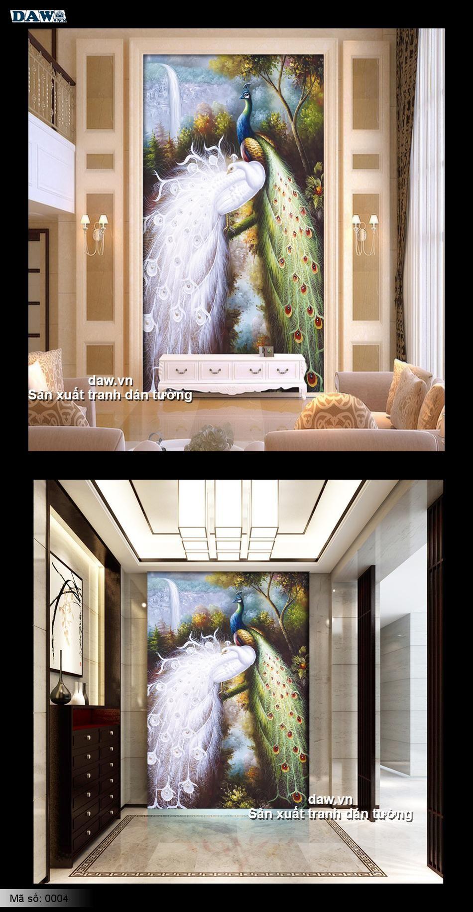 Tranh dán tường chim công, chim công trắng, chim công xanh, tranh dán tường phong thủy 0004