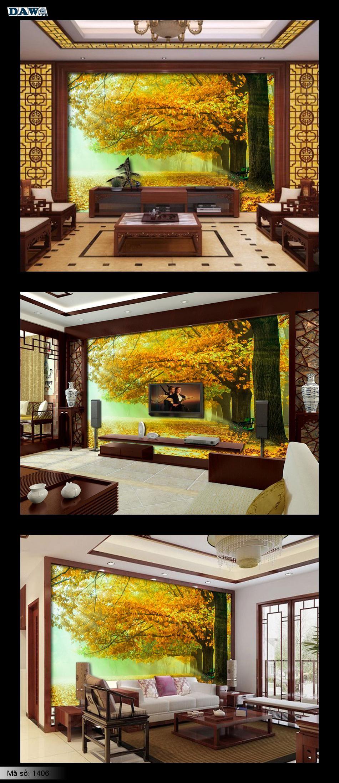 Tranh dán tường phong cảnh, rừng cây, mùa thu lá vàng, mặt trời chiếu qua cây, công viên, cây lớn 1406