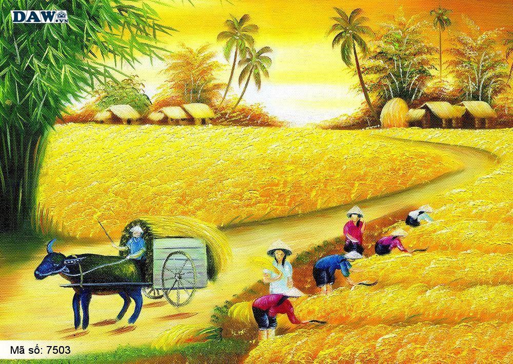Tranh dán tường làng quê Việt Nam, phong cảnh Việt Nam, cây đa bến nước con đò, tranh đồng quê, tranh khổ lớn, tranh 3D 7503