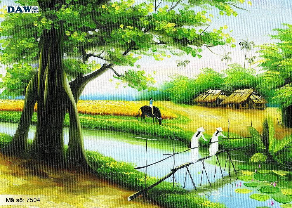 Tranh dán tường làng quê Việt Nam, phong cảnh Việt Nam, cây đa bến nước con đò, tranh đồng quê, tranh khổ lớn, tranh 3D 7504