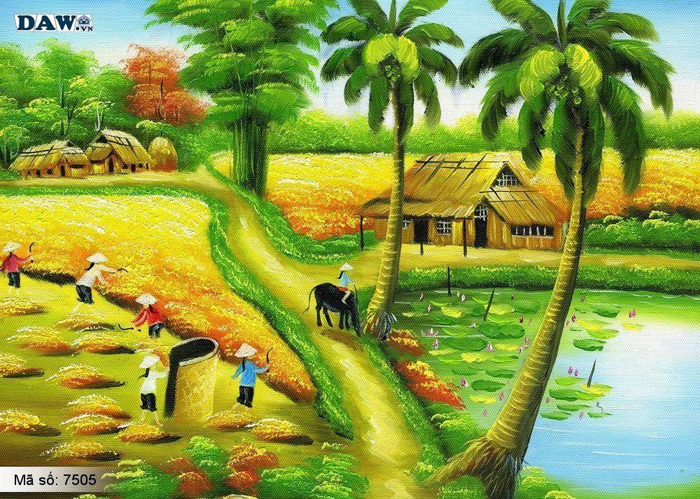 Tranh dán tường làng quê Việt Nam, phong cảnh Việt Nam, cây đa bến nước con đò, tranh đồng quê, tranh khổ lớn, tranh 3D 7505