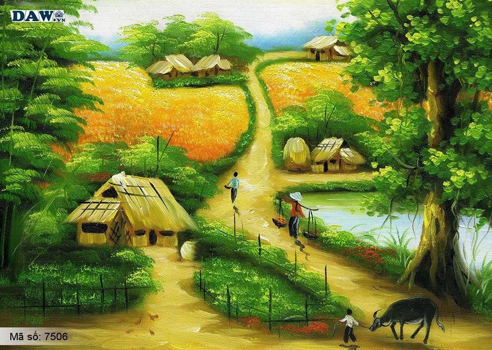 Tranh dán tường làng quê Việt Nam, phong cảnh Việt Nam, cây đa bến nước con đò, tranh đồng quê, tranh khổ lớn, tranh 3D 7506