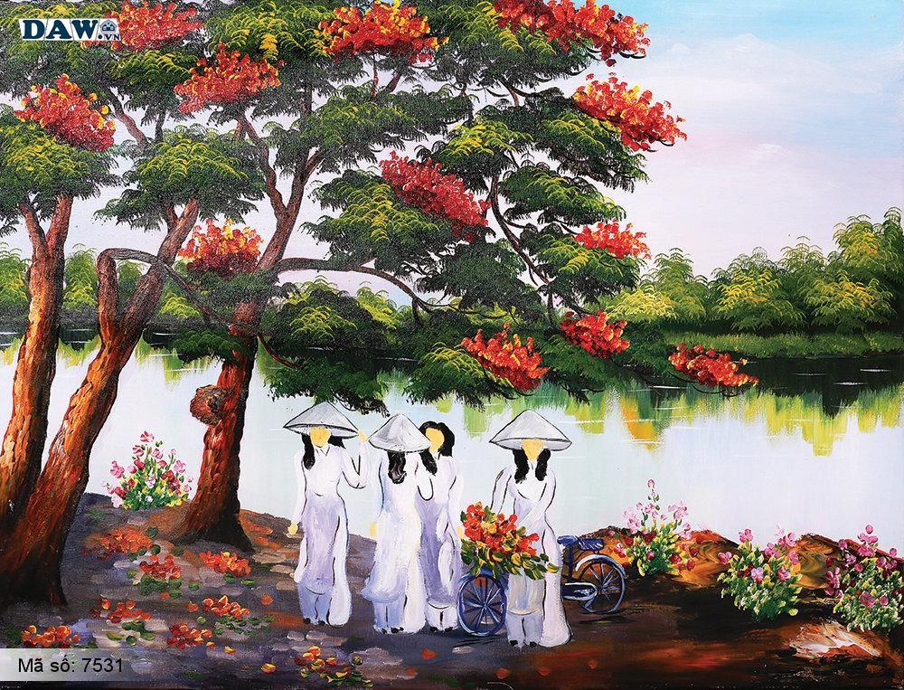 Tranh dán tường Tphcm, các cô gái mặc áo dài đứng bên cây phượng đỏ, tranh vẽ cổ kim 7531