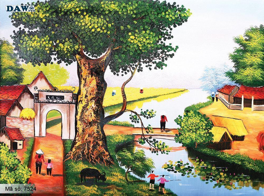 Tranh dán tường Tphcm, cảnh sinh hoạt chân thực làng quê miền bắc cây đa, bến nước, sân đình, tranh vẽ 7524