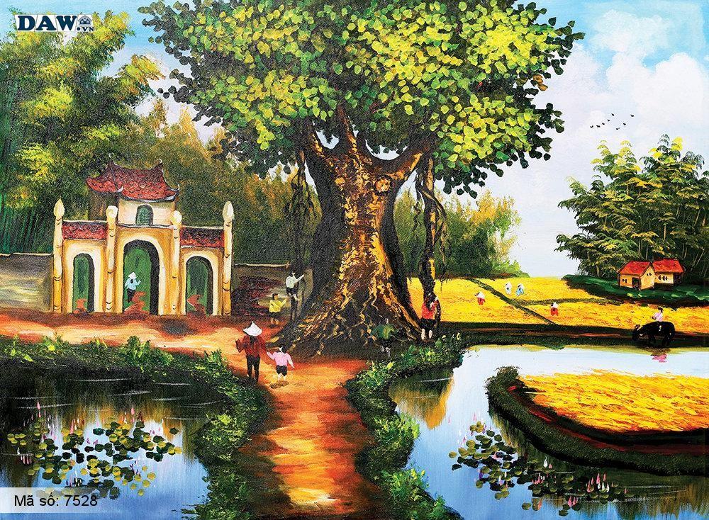 Tranh dán tường Tphcm, cảnh sinh hoạt làng quê miền Bắc, cây đa, bến nước, sân đình, đồng lúa chín, tranh vẽ 7528