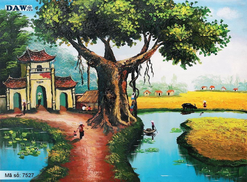 Tranh dán tường Tphcm, cảnh sinh hoạt làng quê miền Bắc, cây đa, bến nước, sân đình, tranh vẽ 7527
