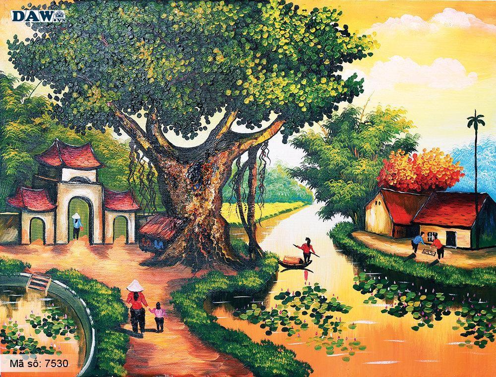 Tranh dán tường Tphcm, cảnh sinh hoạt làng quê miền Bắc, cây đa, bến nước, sân đình, tranh vẽ 7530