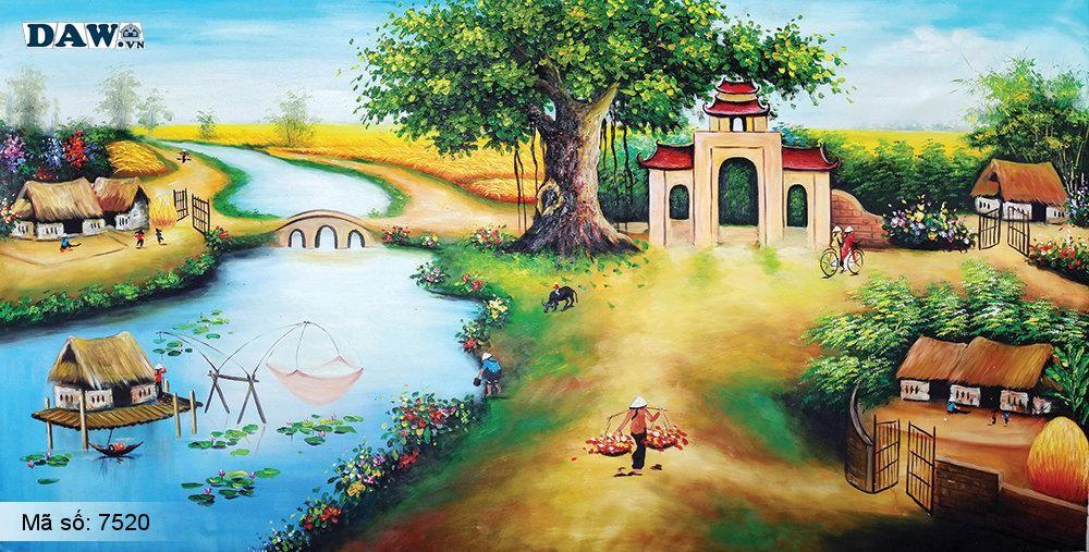 Tranh dán tường Tphcm, cảnh sinh hoạt làng quê miền Bắc, cây đa, bến nước, tranh vẽ 7520