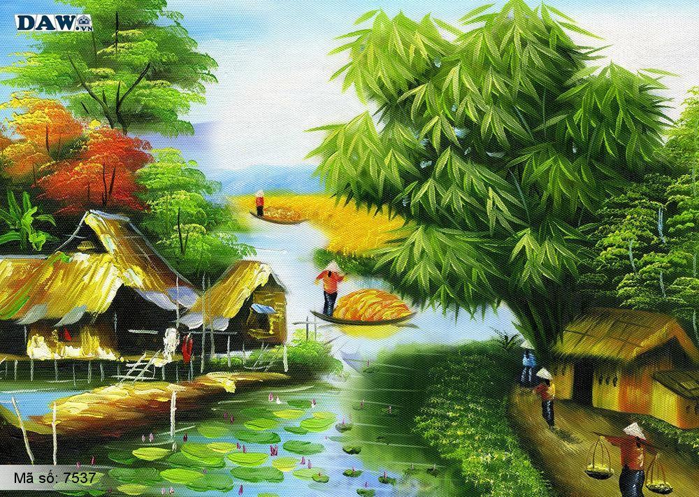 Tranh dán tường Tphcm, cảnh sinh hoạt làng quê miền Bắc, cây tre, bến nước, tranh vẽ 7537