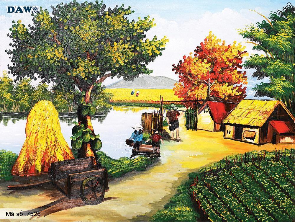 Tranh dán tường Tphcm, cảnh sinh hoạt làng quê miền Bắc, tranh vẽ 7526