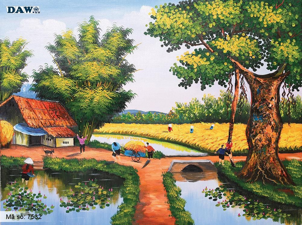 Tranh dán tường Tphcm, cảnh sinh hoạt làng quê Việt Nam, cây đa, bến nước, tranh vẽ 7532