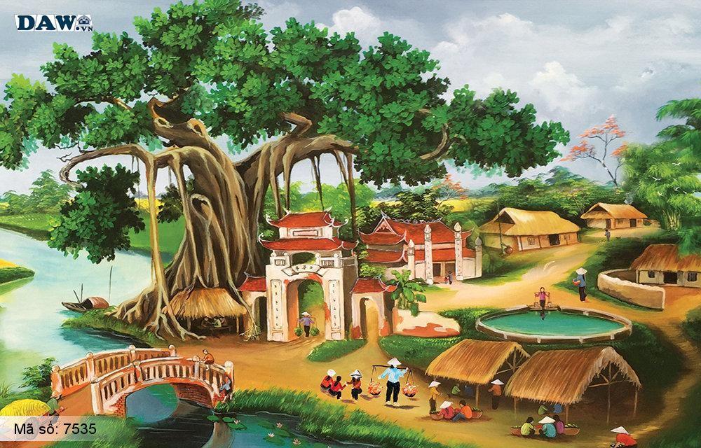Tranh dán tường Tphcm, cảnh sinh hoạt làng quê Việt Nam, đình làng, cây đa, chợ, tranh vẽ 7535