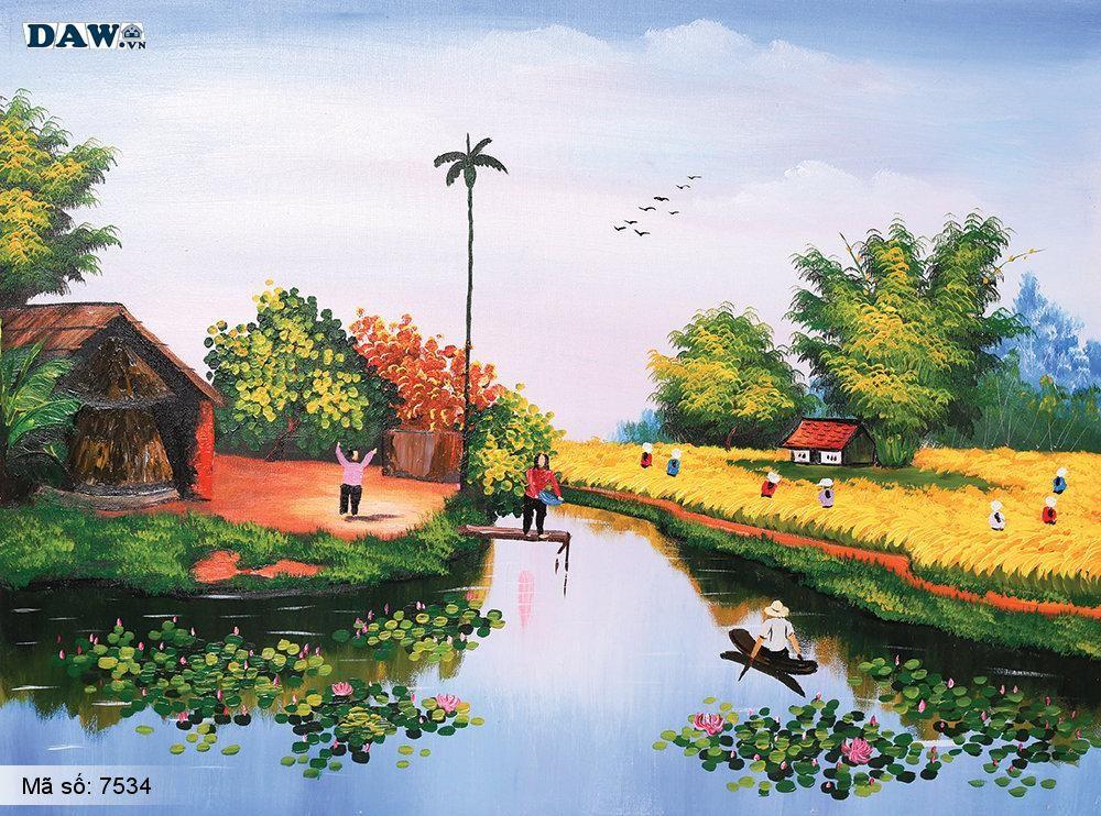 Tranh dán tường Tphcm, cảnh sinh hoạt làng quê Việt Nam, dòng sông, con đò, tranh vẽ 7534