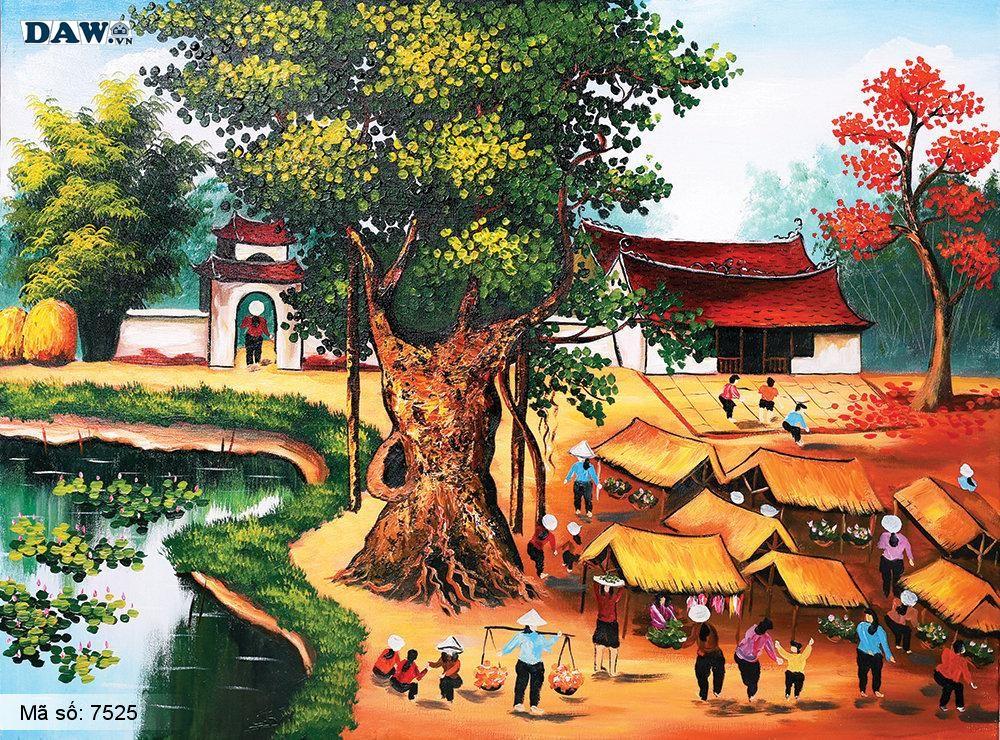 Tranh dán tường Tphcm, cảnh sinh hoạt mua bán tại chợ, làng quê miền bắc cây đa, bến nước, sân đình, tranh vẽ 7525