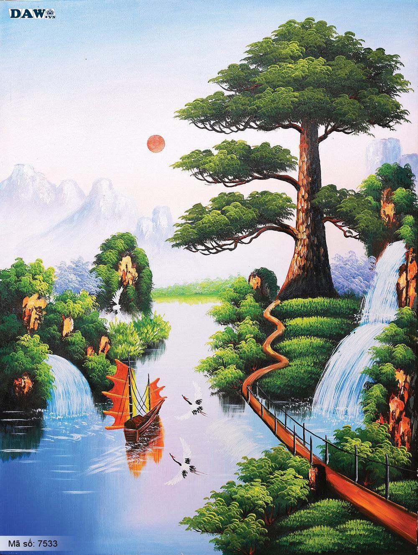 Tranh dán tường Tphcm, cảnh thiên nhiên Việt Nam, thác nước, con đò, tranh vẽ 7533