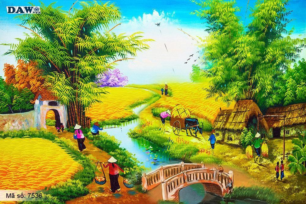 Tranh dán tường Tphcm, cảnh thu hoạch lúa cuối mùa, cây tre, bến nước, tranh vẽ 7536
