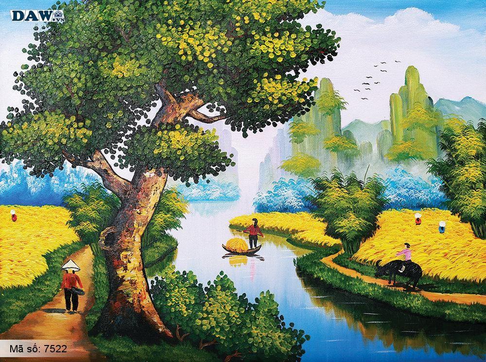 Tranh dán tường Tphcm, làng quê miền bắc, đồng lúa chín bát ngát, tranh vẽ 7522