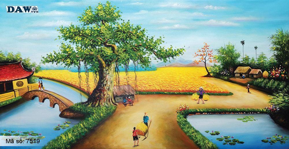 Tranh dán tường Tphcm, làng quê miền Bắc thu hoạch lúa cuối mùa, cây đa, bến nước, tranh vẽ 7519