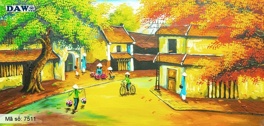 Tranh dán tường Tphcm, phố cổ cuối thu, lá rụng khắp đường phố, tranh vẽ cổ kim 7511