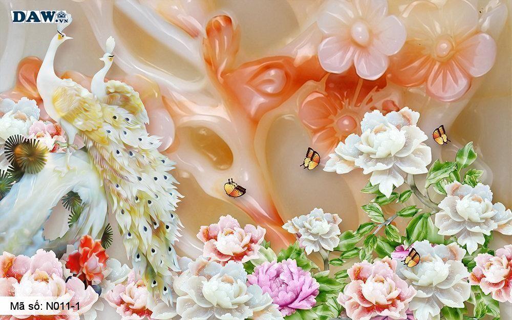 Tranh dán tường giả ngọc, Tranh ngọc 3D, Tranh dán tường Tphcm N011-1, Cành hoa 3D màu vàng cam, chim phượng, tranh khổ ngang