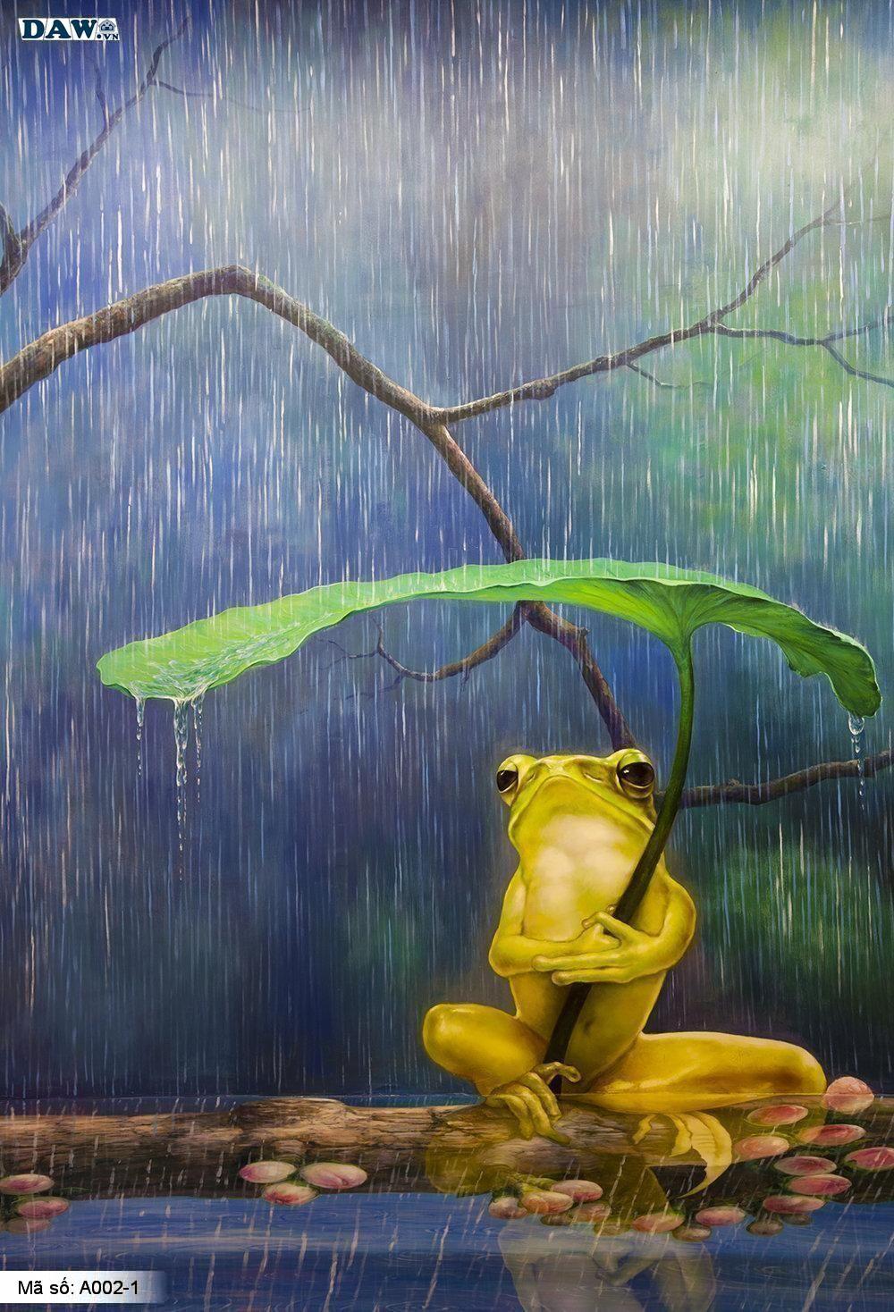 Tranh dán tường 3D, tranh dán tường Hàn Quốc, tranh ngọc A002-1, Chú ếch ngồi dưới tán lá cây, chú ếch ngồi dưới mưa