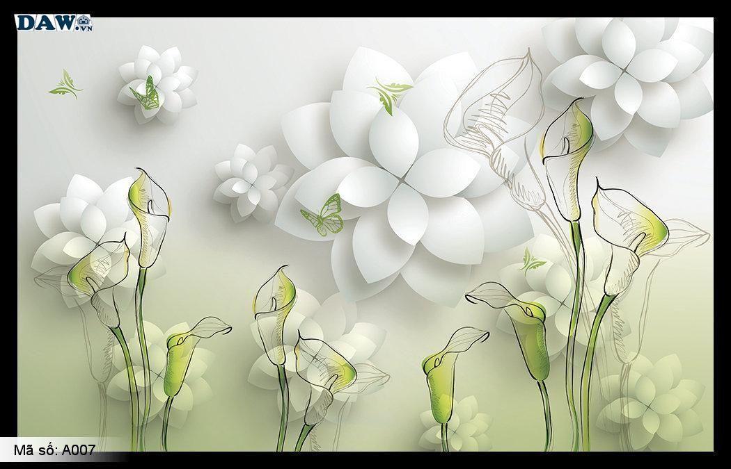 Tranh dán tường 3D, tranh dán tường Hàn Quốc, tranh ngọc A007, Hoa lá xanh, giả ngọc nổi 3D
