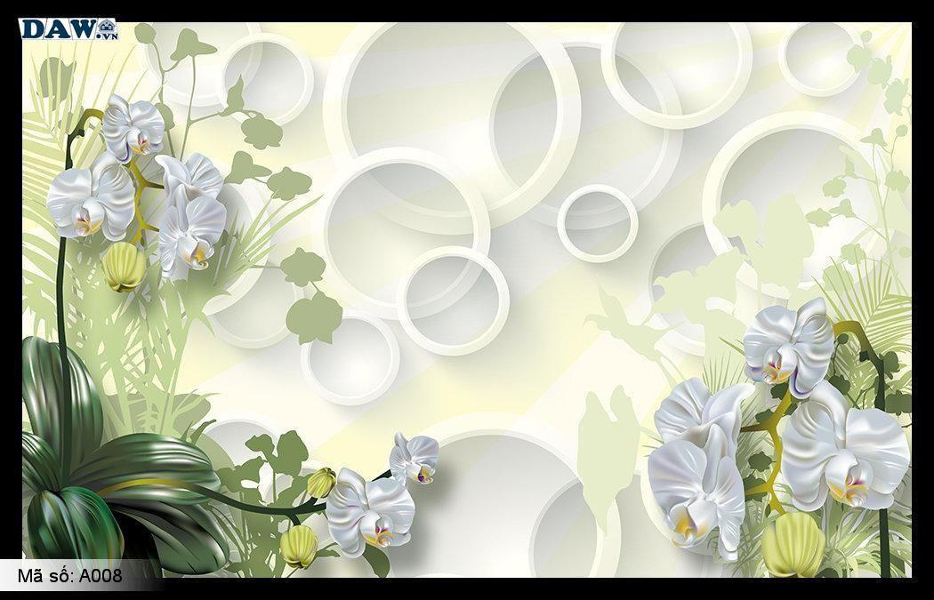 Tranh dán tường 3D, tranh dán tường Hàn Quốc, tranh ngọc A008, Cành hoa, lá 3D ngọc nổi, tranh khổ ngang