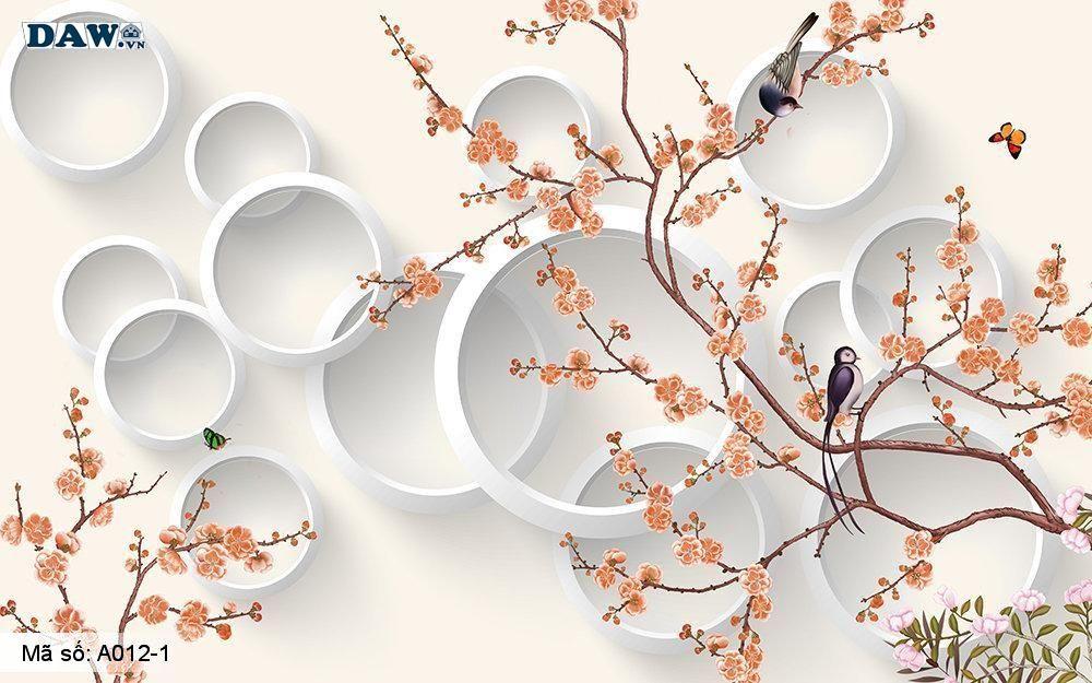 Tranh dán tường 3D, tranh dán tường Hàn Quốc, tranh ngọc A012-1, Cành hoa, lá, vòng tròn 3D, tranh khổ ngang