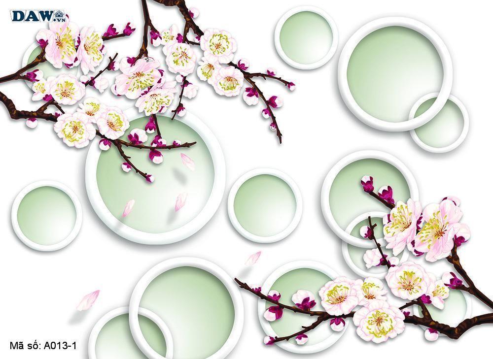 Tranh dán tường 3D, tranh dán tường Hàn Quốc, tranh ngọc A013-1, Cành hoa đào, vòng tròn 3D