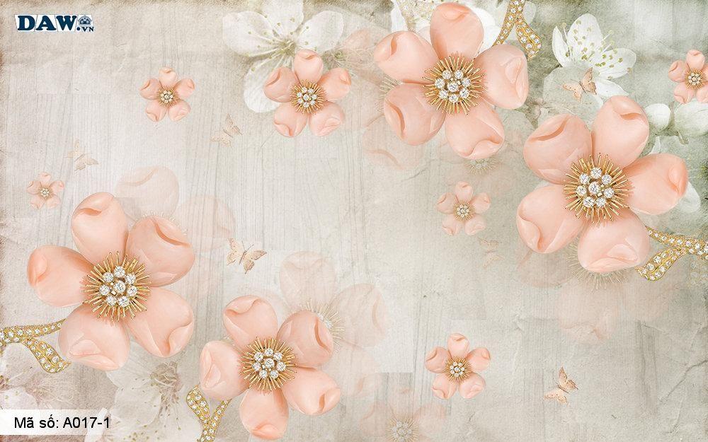 Tranh dán tường 3D, tranh dán tường Hàn Quốc, tranh ngọc A017-1, Cành hoa, bông hoa 3D giả ngọc nổi