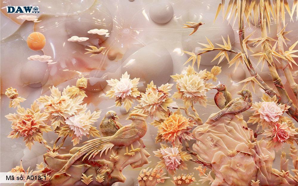 Tranh dán tường 3D, tranh dán tường Hàn Quốc, tranh ngọc A018-1, Hoa lá, chim cảnh, cây cối 3D giả ngọc, tranh khổ ngang