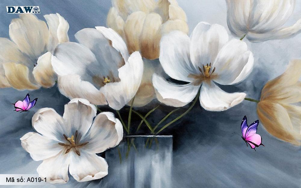 Tranh dán tường 3D, tranh dán tường Hàn Quốc, tranh ngọc A019-1, Cành hoa, bình hoa, tranh vẽ cổ kim, khổ ngang