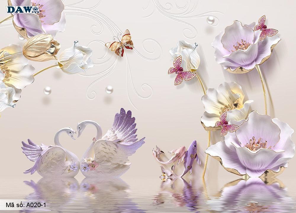 Tranh dán tường 3D, tranh dán tường Hàn Quốc, tranh ngọc A020-1, Động vật, thực vật, cành hoa giả ngọc nổi 3D